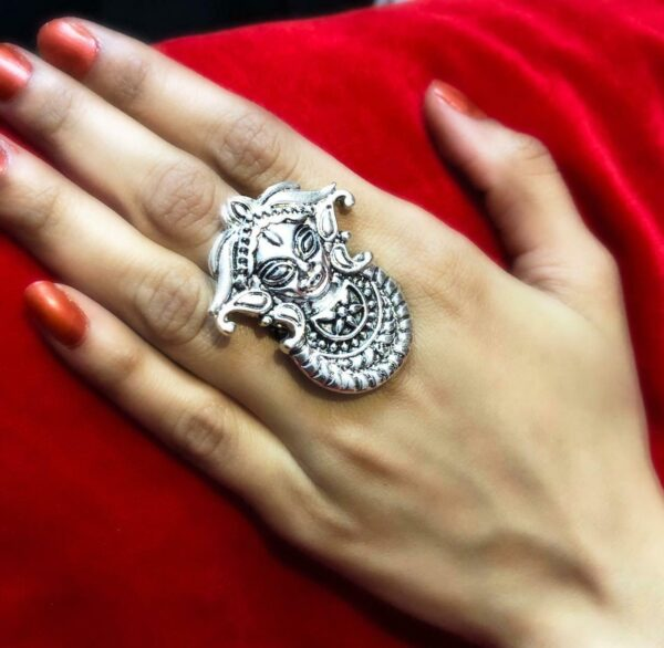 Indian Bollywood Oxidized Silver Plated Maa Durga Adjustable Ring Jewelry women