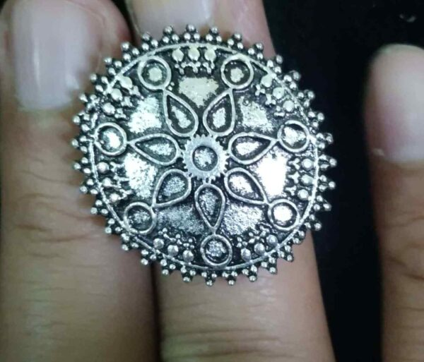 Bollywood Antique Oxidized Silver Plated Adjustable Ring Fashion Jewelry women