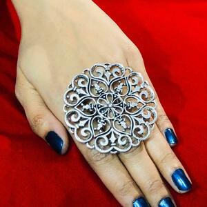 Bollywood Trending Oxidized Silver Plated Adjustable Ring Fashion Jewelry women