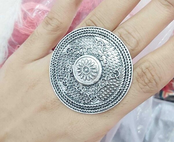 Bollywood Oxidized Silver Plated Adjustable Ring Jewelry women Big Size