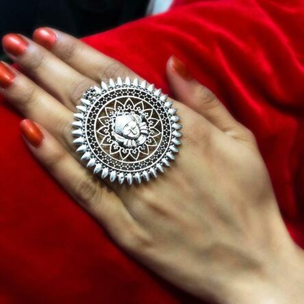 Bollywood Oxidized Silver Plated Adjustable Ring Fashion Jewelry women R3