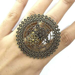 Big Size Bollywood Oxidized Golden Plated Adjustable Ring Jewelry women