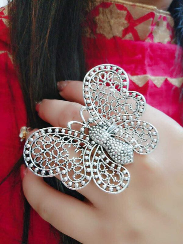 Butter Fly Bollywood Oxidized Silver Plated Adjustable Ring Jewelry women