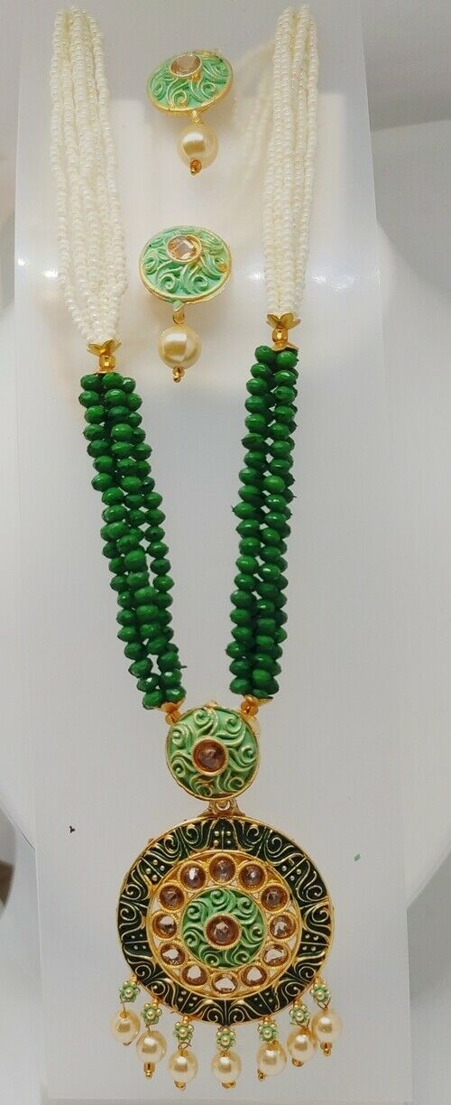 Multi Color Indian Long Necklace Set Gold Plated Bridal Pearl Mala Set - D14