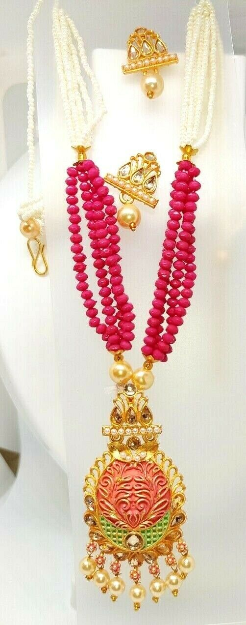 Multi Color Indian Long Necklace Set Gold Plated Bridal Pearl Mala Set - D12