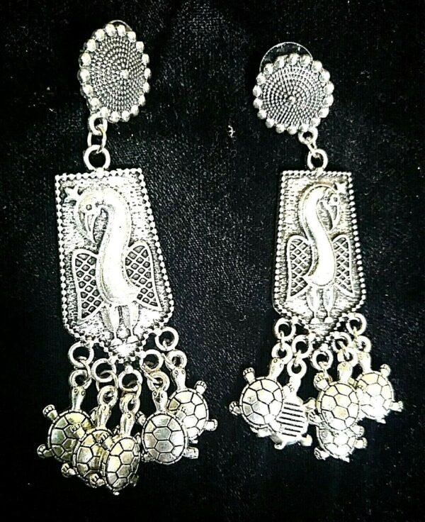 Oxidized Indian Kashmir Earrings Mughal Jhumka German silver Plated Bollywood