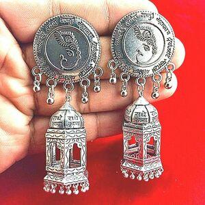 Fashion Traditional Tribal Oxidized Jhumka Earrings Indian Hindu Mantra Jewelry