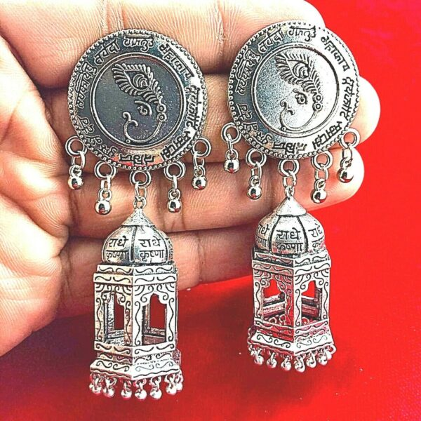 Fashion Traditional Tribal Oxidized Jhumka Earrings Indian Hindu Mantra Jewelry