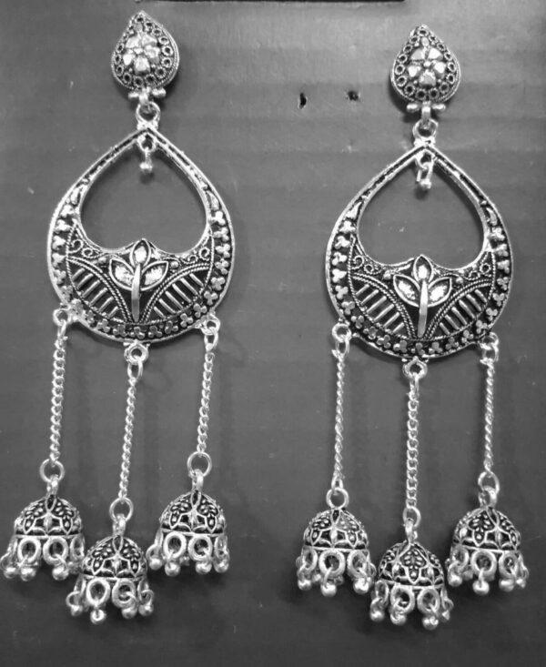 Party wear Oxidized Silver Plated Stud Jhumka Jhumki Earrings Jewelry Women