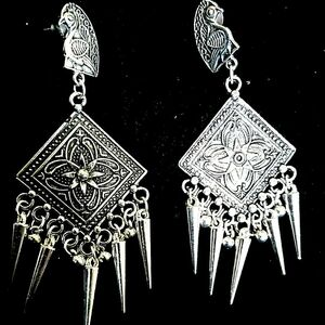 Bollywood Indian Oxidized Mughal Jhumka German silver Plated Earrings