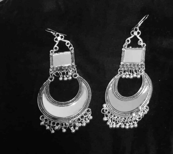 Antique Indian Kashmir earrings Mughal Jhumka Silver Plated Oxidized Bollywood