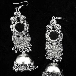 Bollywood Antique Indian Kashmir Jhumki Mughal Jhumka Silver Plated Oxidized