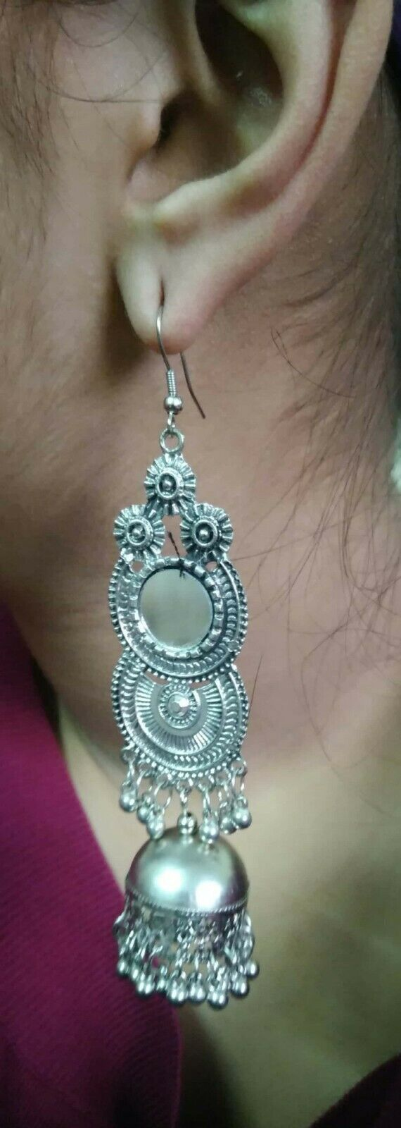 Bollywood Antique Indian Kashmir Jhumki Mughal Jhumka Silver Plated Oxidized