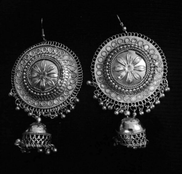 Antique Indian Kashmir Oxidized Jhumka Mughal Jhumki Silver Plated Bollywood