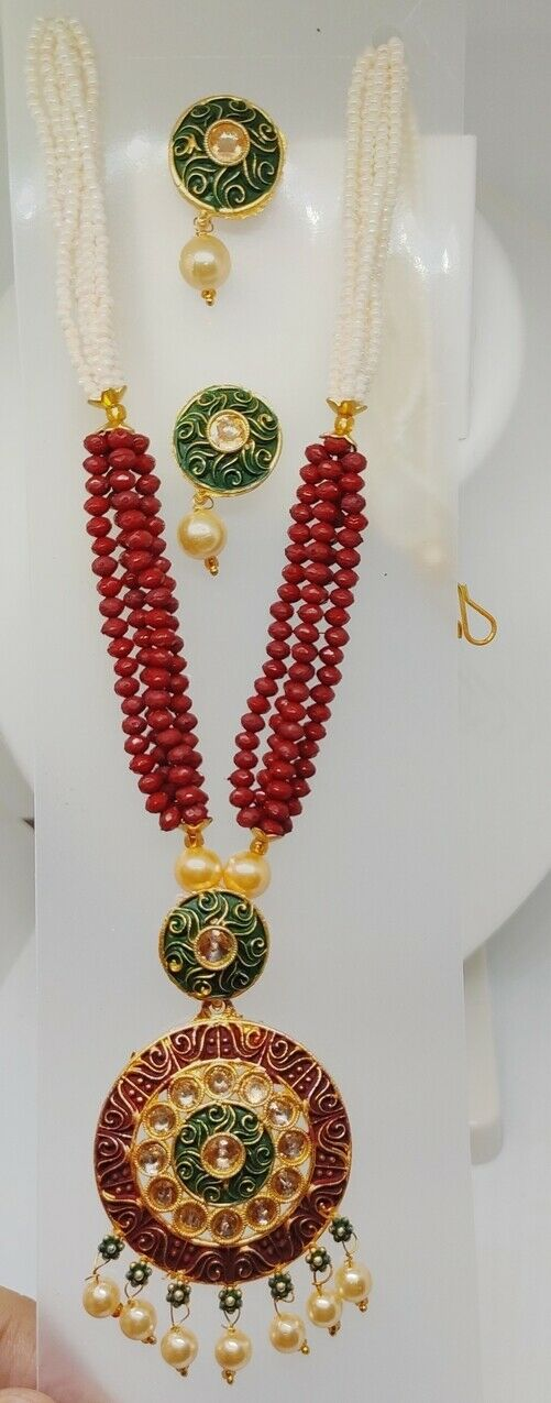 Multi Color Indian Long Necklace Set Gold Plated Bridal Pearl Mala Set - D15