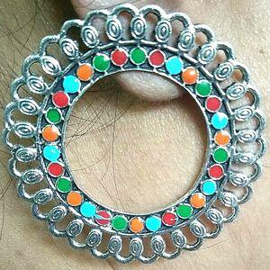 Indian Kashmiri Jhumki Mugal Jhumka Silver Plated Oxidized Afgani Bollywood