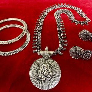 bohemian tribal Turkish gypsy necklace earring bangle jewelry set