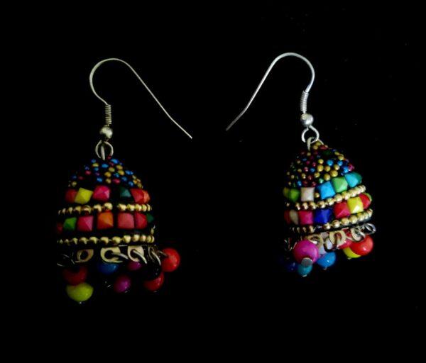 Fashion Jewelry Indian Oxidized Jhumka Silver Bohemia Gift Colored Bead Earrings