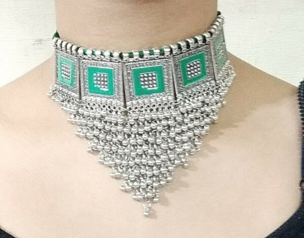 Boho Necklace Tribal Vintage Green Gypsy Kuchi Ethnic Statement Fashion Jewelry