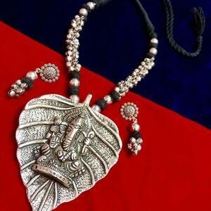 Oxidized Silver Plated Lord Ganesha Ganapati God Vinayaka Necklace Vintage Je...