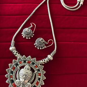 Bollywood Indian Traditional Silver Plated Oxidized Necklace Afghani RNDRDBL-N1
