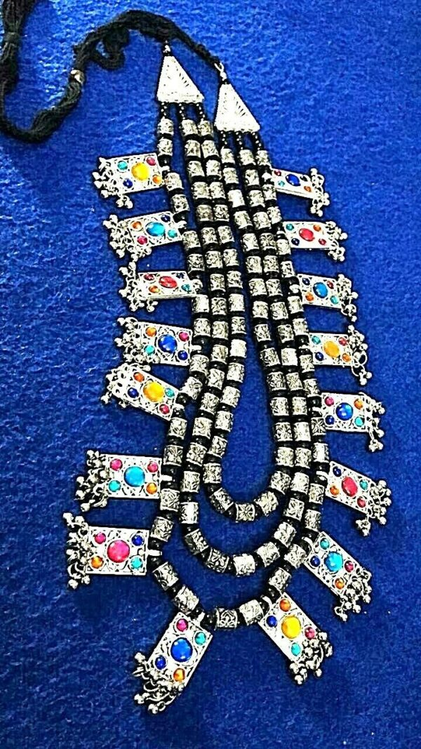 Multi Color Bollywood Antique Traditional Silver Oxidized Plated 3 Line Necklace