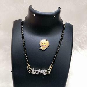 With Pendant Love Women Chain Necklace Black Golden Jewelry Gift Light Weight