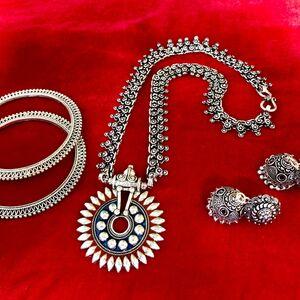 necklace earring bangle jewelry set bohemian tribal Turkish gypsy