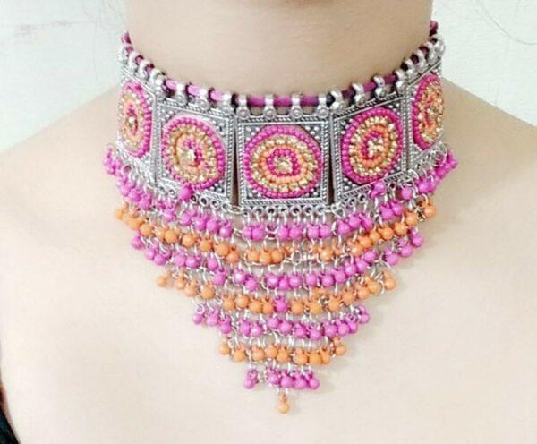 Boho Oxidized Ethnic Necklace Tribal Vintage Gypsy Kuchi Statement Jewelry Multi