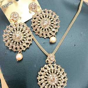 Golden Pearl Indian Kundan Long Necklace Set Gold Plated Marriage Bridal Jewelry