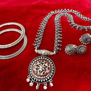 tribal Turkish gypsy bohemian necklace earring bangle jewelry set