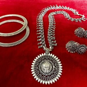 Turkish gypsy tribal bohemian necklace earring bangle jewelry set