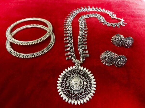 Turkish gypsy tribal bohemian necklace earring bangle jewelry set