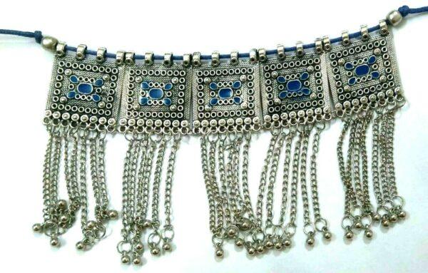 Indian Afghan Necklace Set Earrings Choker Turkish Boho Oxidize German Silver
