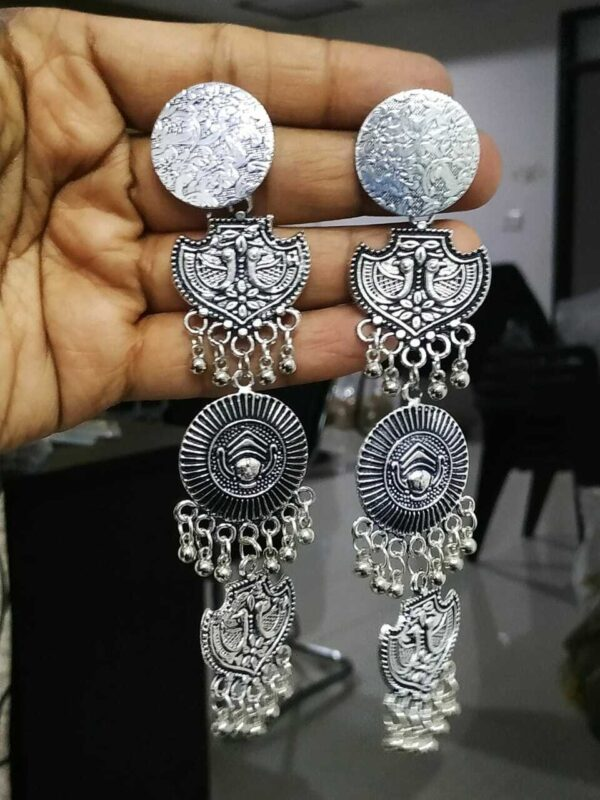 Long Traditional Bollywood Silver Plated Maa Durga Oxidized Jhumki Earrings