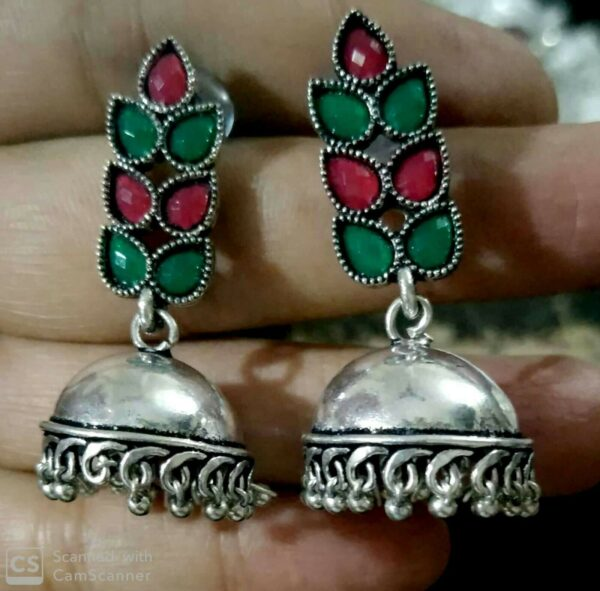 Oxidized Silver Plated Handmade Women wear Stone Earrings Jhumki Jewelry women