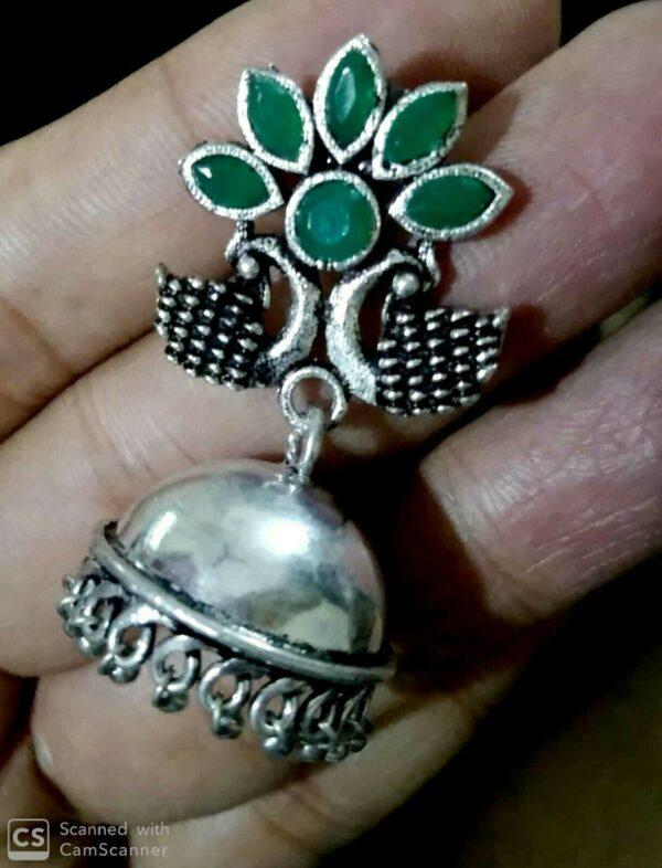 Indian Peacock Silver Oxidized Jhumka Sparkling Green Stone Women Earrings
