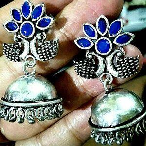 Indian Jaipur Silver Oxidized Jhumka Jhumki Royal Blue Stone Women earrings