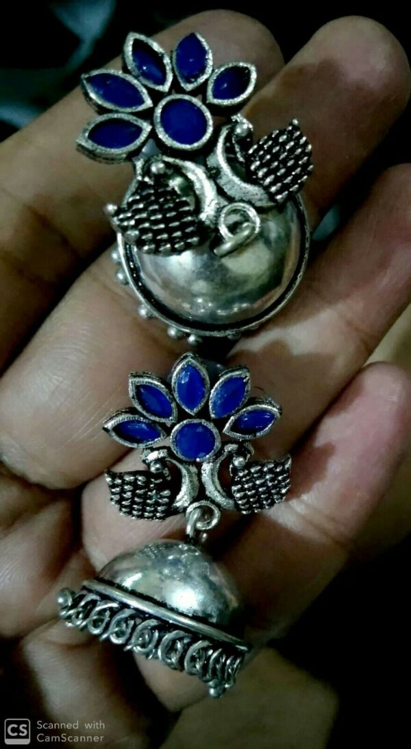 Indian Jaipur Silver Oxidized Jhumka Jhumki Royal Blue Stone Women earrings