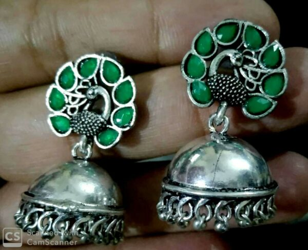 Bollywood Oxidized Silver Plated Stone Big Stud Earrings Jewelry for women