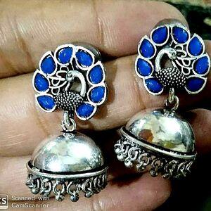 SILVER OXIDIZED INDIAN KOLHAPURI STONE BLUE Stone CHANDELIER BRIDAL EARRINGS