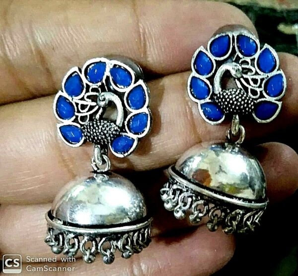 SILVER OXIDIZED INDIAN KOLHAPURI STONE BLUE Stone CHANDELIER BRIDAL EARRINGS