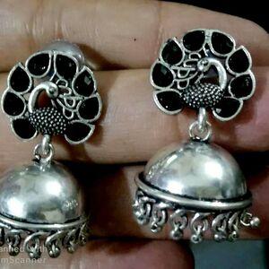Oxidized Silver Plated Handmade Stone Stud Jhumka Jhumki Earrings for women