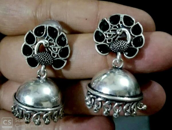 Oxidized Silver Plated Handmade Stone Stud Jhumka Jhumki Earrings for women