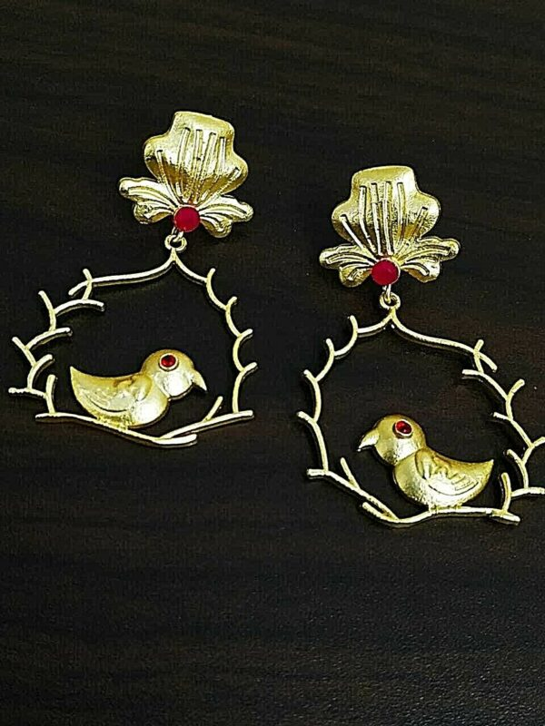 Traditional Bollywood Gold Plated Bird Oxidized Jhumki Red Stone Earrings
