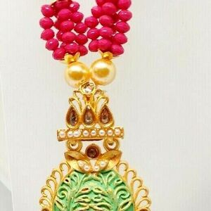 Multi Color Indian Long Necklace Set Gold Plated Bridal Pearl Mala Set - D9