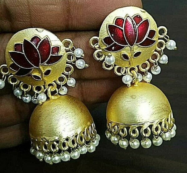 Traditional Bollywood Golden Plated Oxidized Jhumka Red Lotus Panted Earrings