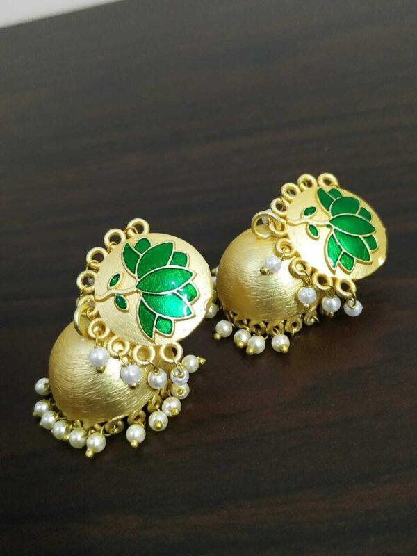 Traditional Bollywood Gold Plated Green Lotus Jhumki Earrings Drop / Dongle