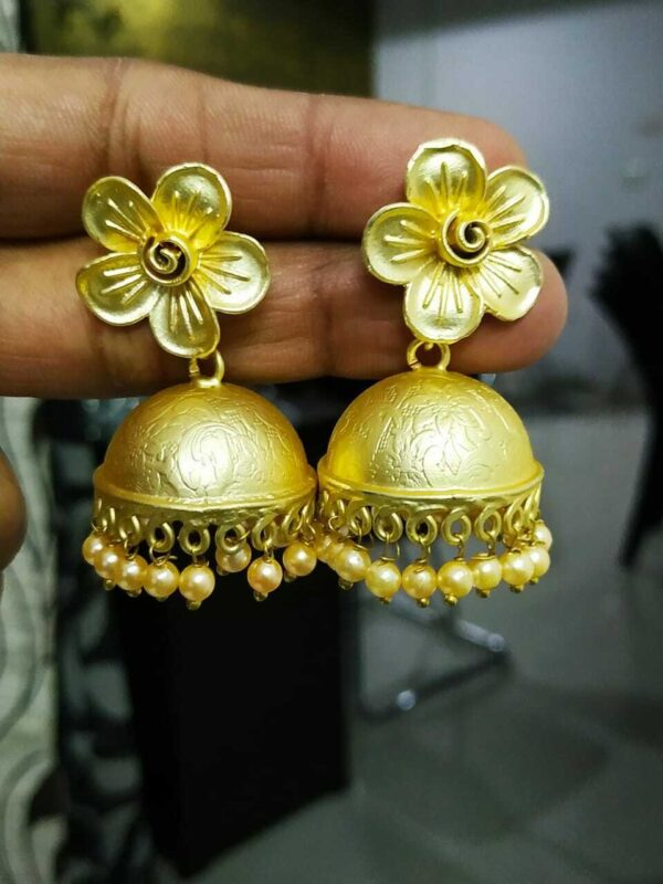 Gift Traditional Gold Plated Pearl Flower Oxidized Jhumki Earrings Drop / Dongle