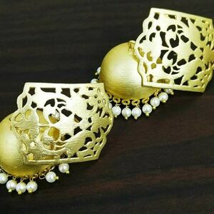 Pearl Designer Gold Plated Oxidized Jhumki Earrings Drop / Dongle Party Wedding